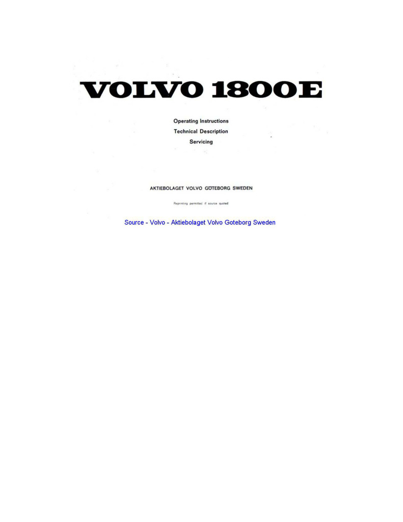 Volvo 1800e Owners Manual Pdf  18 1 Mb